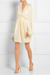 STELLA MCCARTNEY Mini-robe drapée en fil coupé satiné Elitta