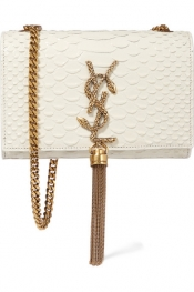 SAINT LAURENT Monogramme small snake-effect leather shoulder bag