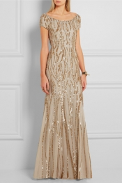 JENNY PACKHAM Sequined silk-georgette gown