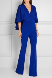 HANEY Carrie cape-effect silk-chiffon and stretch-crepe jumpsuit