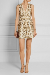 ALICE + OLIVIA Prescilla embellished duchesse-silk mini dress