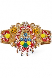 DOLCE & GABBANA Gold-plated, Swarovski crystal and resin waist belt