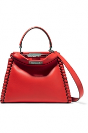 FENDI Peekaboo medium whipstitched leather tote