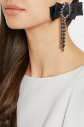 LANVIN Pewter-plated, Swarovski crystal and satin clip earrings