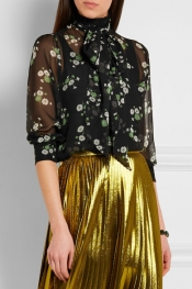 GUCCI Pussy-bow floral-print silk-chiffon blouse