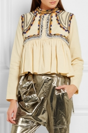 ISABEL MARANT Sachi embroidered cotton-twill top