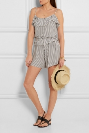 SEE BY CHLOÉ Ruffled striped jersey playsuit