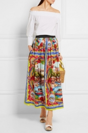 DOLCE & GABBANA Printed cotton-poplin maxi skirt