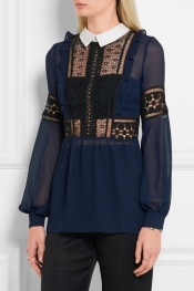 SELF-PORTRAIT Guipure lace and georgette blouse