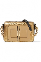 TOM FORD New Natalia mini leather-trimmed metallic python shoulder bag