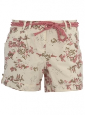 Pink floral rope belt shorts