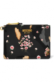 MOSCHINO Printed patent-leather pouch