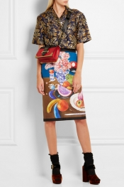 PRADA Printed silk-faille pencil skirt