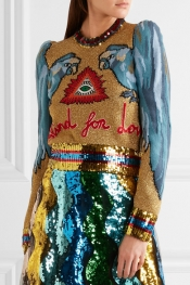 GUCCI Appliquéd sequin-embellished intarsia knitted sweater