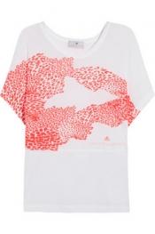 ADIDAS BY STELLA MCCARTNEY Neon leopard-print jersey T-shirt