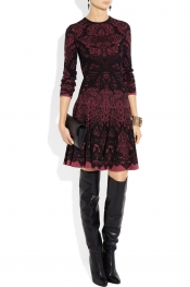 ALEXANDER MCQUEEN Intarsia wool-blend dress