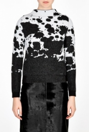 BURBERRY BRIT MONOCHROME SPLATTER PRINT WOOL JUMPER
