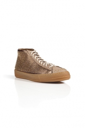 BURBERRY LONDON Leather Fingall High Top Sneakers in Antique Gold