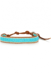 CHAN LUU Turquoise and silver-beaded leather bracelet