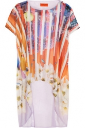 CLOVER CANYON Printed fine-jersey and silk-chiffon top