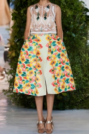 DELPOZO Floral-embroidered gazar skirt