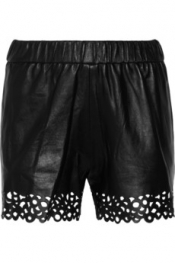 DIANE VON FURSTENBERG Andi laser-cut leather shorts