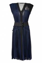DONNA KARAN Ink Pleated Silk Chiffon Dress with Belt