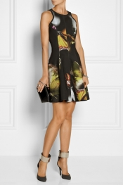 FAITH CONNEXION Butterfly-print neoprene dress