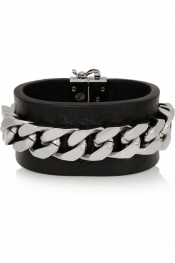 Glam rock trend FENDI Silver-tone chain and leather bracelet