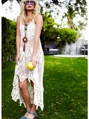 Crochet V neck dress and wedges