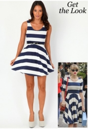 Jazzy Striped Skater Dress Navy