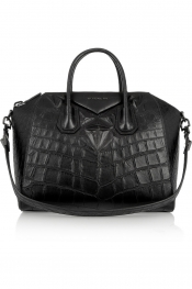 GIVENCHY Medium Antigona bag in black crocodile-style leather