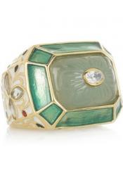 ISHARYA Jaisel 18-karat gold-plated chalcedony ring