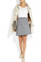 J.CREW Striped cotton-poplin skirt