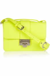 Jimmy Choo Rebel neon textured-leather shoulder bag