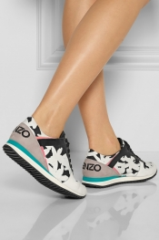 KENZO Palm tree-print leather and canvas sneakers