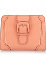 MARNI Buckled patent-leather clutch