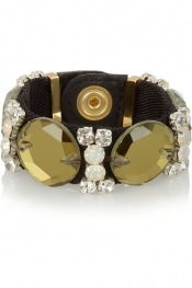 MARNI Twill, leather and crystal bracelet