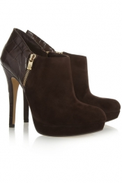 MICHAEL MICHAEL KORS York croc-effect leather and suede ankle boots
