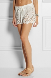 MIGUELINA Gwen crocheted-cotton shorts
