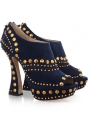 MIU MIU Studded suede ankle boots