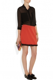 Moschino Cheap and Chic Chain-trimmed jersey mini skirt
