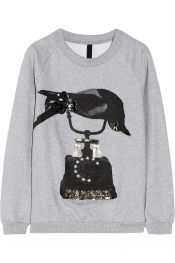 MOTHER OF PEARL Lucas embellished cotton-jersey sweatshirt