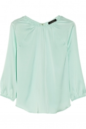 NINA RICCI Gathered charmeuse top