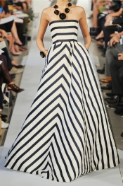 OSCAR DE LA RENTA Striped silk-blend gazar gown