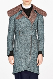 CARVEN CONTRAST COLLAR TWEED COAT