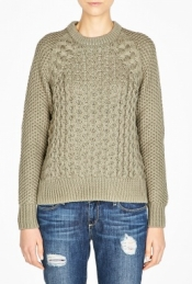 ACNE GREEN RUTH AIR CABLE KNIT SWEATER