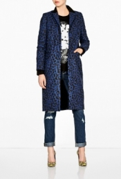 SEA NY LEATHER TRIM LEOPARD PRINT COAT