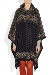 PAUL & JOE Berger patterned wool-blend poncho