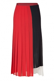 PAUL SMITH Red/Navy/White Pleated Maxi Skirt